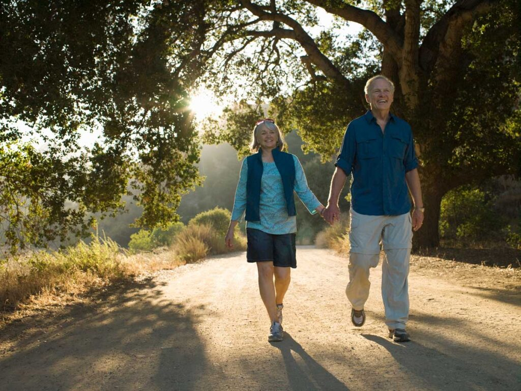 couple-holding-hands-walking-on-wooded-path